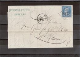 CP011- Lettre De AUBENAS G.Ch 198 Du 8 SEPT 65 Pour Saint-Etienne. - 1862 Napoléon III