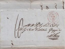 S239- Lettera Del 13 Marzo 1859 Da LUMELLO A Milano , Tassata 10 Decimi A Penna E Pagati In Denaro. TESTO STORICO- - Sardegna
