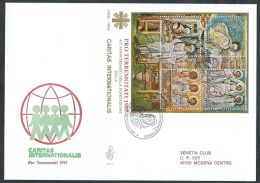 1998 VATICANO FDC VENETIA 292 FOGLIETTO PRO TERREMOTATI NO TIMBRO ARRIVO - BV21 - FDC