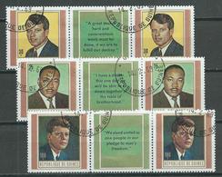 Guinée Poste Aérienne YT N°88/90 Robert Et John Kennedy - Martin L. King (paire Vignette Anglais Se-tenant) Oblitéré ° - Guinea (1958-...)
