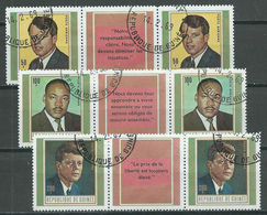 Guinée Poste Aérienne YT N°88/90 Robert Et John Kennedy - Martin L. King (paire Vignette Français Se-tenant) Oblitéré ° - Guinea (1958-...)