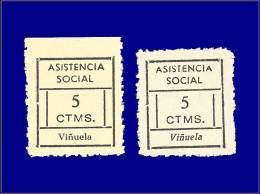 ESPAGNE GUERRE CIVILE NATION  Yvert:Vinuela Ed. 2, Types I Et II: 5c. Noir      - Qualité: (X) - Spanish Civil War Labels