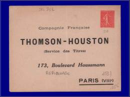 """FRANCE Entiers Postaux Yvert:Enveloppe 199, 50c. Lignée Repiquage """"""""Thomson Houston""""""""      - Qualité: N - Entiers Postaux"""