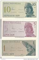 INDONESIE 1-5-10 SEN 1964 UNC P 90-91-92 ( 3 Billets ) - Indonesia