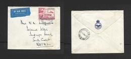 Northern.Rhodesia Police, Air Mail, U.P.U. 2d,  RIDGEWAY NORTHERN RHODESIA 3 VI 51 > ISIPINGO BEACH 11 JUN 51, - Northern Rhodesia (...-1963)