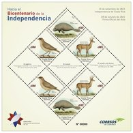 Costa Rica 2018 Bicentenary Of The Independence Local Manati, Birds Deer Flag - Songbirds & Tree Dwellers