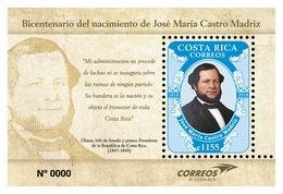 Costa Rica New Issue 2018 MNH First President José Marío Castro Madriz - Costa Rica