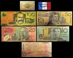 Set De 5 Billets Plaqués OR Couleur + Certificat ! ( Color GOLD Plated Banknotes ) - Australie - Fakes & Specimens