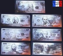 Set De 7 Billets Plaqués ARGENT ( SILVER Plated Banknotes ) - USA Etats-Unis - Dollars USD - Other