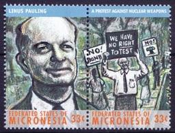 Linus Pauling, Nuclear Weapons, Nobel Chemistry, Micronesia 2000 MNH 2 Stamps - Prix Nobel