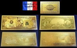 2 Billets Plaqués OR  + Certificat !!! ( GOLD Plated Banknotes ) - 1 000 000 Dollars !!! One Million Dollars USD - Other