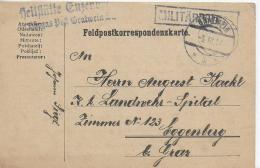 AK 0030  Feldpostkorrespondenzkarte Militärlazarett Heilstätte Enzersdorf - Post Gratwein Um 1917 - Covers & Documents