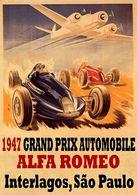 Car Automobile Grand Prix Postcard Brazil Interlagos Sao Paulo 1947 Alfa Romeo - Reproduction - Advertising