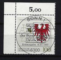 BUND Mi-Nr. 1589 Eckrandstück Links Oben Wappen Brandenburg Gestempelt - BRD