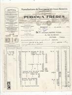 Facture , PIAVOUX FRERES , Manufacture De Tournerie , Arbent , Ain ,1941 , Frais Fr 1.55e - France