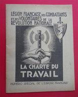 Ww2 Légion Française Des Combattans Et Volontaires 1941 Brochure Charte Du Travail Avec Organigramme Détaché - Documents