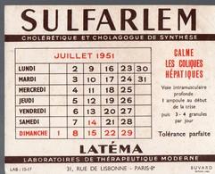 Buvard SULFARLEM Juillet 1951 (PPP14986) - Chemist's