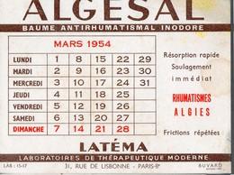 Buvard ALGESAL Mars 1954 (PPP14987) - Chemist's