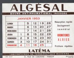 Buvard ALGESAL Janvier 1953 (PPP14988) - Chemist's