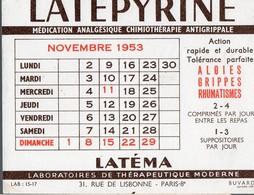 Buvard LATEPYRINE Février 1953  (PPP14989) - Chemist's