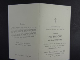 Irma Boesmans épse Bricout Steevoort 1888 Hal 1965 /2/ - Images Religieuses