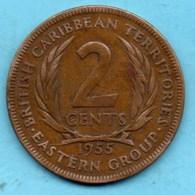 T50/ BRITISH CARIBBEAN / CARAIBES BRITANNIQUES 2 CENTS 1955 - East Caribbean States