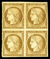 * N°1, 10c Bistre En Bloc De Quatre, Frais. TTB. R.R. (signé Calves/certificat)  Qualité: *  Cote: 14000 Euros - 1849-1850 Ceres