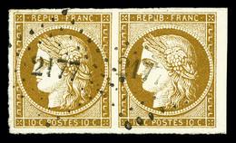 O N°1, 10c Bistre En Paire Obl Pc '2177', Grandes Marges, Pièce Choisie. SUP (certificat)  Qualité: O - 1849-1850 Ceres