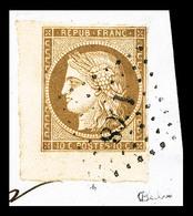 O N°1, 10c Bistre-jaune Coin De Feuille Sur Petit Fragment, Oblitération Légère, SUP (signé Calves/certificat)  Qualité: - 1849-1850 Ceres