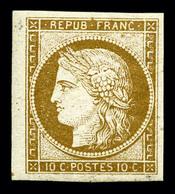 ** N°1a, 10c Bistre-brun, Bord De Feuille Latéral, Fraîcheur Postale. SUPERBE. R. (certificats)  Qualité: ** - 1849-1850 Ceres