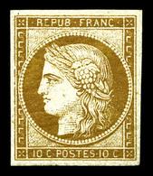 ** N°1a, 10c Bistre-brun, Quatre Marges Equilibrées, Fraîcheur Postale. SUPERBE. R. (certificats)  Qualité: ** - 1849-1850 Ceres