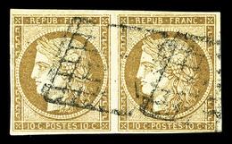 O N°1b, 10c Bistre-verdâtre En Paire, Très Jolie Nuance, RARE (signé/certificat)  Qualité: O  Cote: 1450 Euros - 1849-1850 Ceres