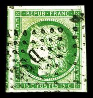 O N°2, 15c Vert, Grandes Marges Avec Voisins. SUP. R. (certificat)  Qualité: O - 1849-1850 Ceres