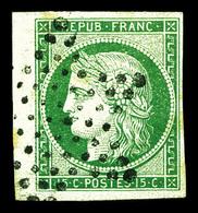 O N°2, 15c Vert Bord De Feuille Obl étoile Légère, Pièce Choisie. SUP (signé Brun/Calves/certificat)  Qualité: O - 1849-1850 Ceres