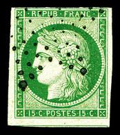 O N°2, 15c Vert Obl étoile. TB (certificat)  Qualité: O  Cote: 1050 Euros - 1849-1850 Ceres