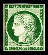 (*) N°2b, 15c Vert-foncé, Quatre Belles Marges Et Très Jolie Couleur, R.R.R (signé Calves/Brun/certificat)  Qualité: (*) - 1849-1850 Ceres