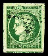 O N°2b, 15c Vert-foncé, Très Grandes Marges Avec Voisins, Oblitération Légère. SUP. R.R.  Qualité: O - 1849-1850 Ceres