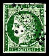 O N°2b, 15c Vert-foncé, Superbe Nuance, TTB (signé Calves/Scheller/certificat)  Qualité: O  Cote: 1250 Euros - 1849-1850 Ceres
