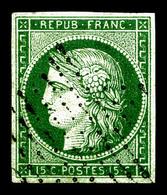 O N°2b, 15c Vert Foncé Obl Légère. TTB (certificat)  Qualité: O  Cote: 1250 Euros - 1849-1850 Ceres