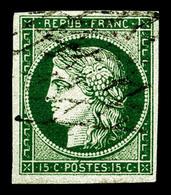 O N°2c, 15c Vert Très Foncé (vert Bouteille) Obl Grille Sans Fin, Superbe Couleur. TTB. R.R. (signé Brun/Gilbert/certifi - 1849-1850 Ceres