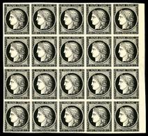 ** N°3, 20c Noir Sur Jaune En Bloc De 20 Exemplaires (quelques Ex*), Bord De Feuille Latéral Droit, EXCEPTIONNEL (certif - 1849-1850 Ceres