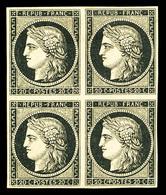 ** N°3, 20c Noir Sur Jaune En Bloc De Quatre (2ex*), FRAÎCHEUR POSTALE, SUPERBE (signé Calves/Marquelet/certificat)   Qu - 1849-1850 Ceres