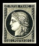 * N°3, 20c Noir Sur Jaune, TB (certificat)  Qualité: *  Cote: 600 Euros - 1849-1850 Ceres