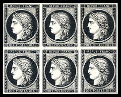 (*) N°3, 20c Noir Sur Jaune En Bloc De 6 Exemplaires. TTB (signé Brun/certificats)  Qualité: (*) - 1849-1850 Ceres