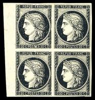 (*) N°3, 20c Noir Sur Jaune, Bloc De Quatre Bdf. TB (signé Brun/certificat)  Qualité: (*) - 1849-1850 Ceres