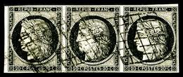 O N°3, 20c Noir Sur Jaune, Bande De 3 Horizontale, Infime Froissure, TB (signé Calves)  Qualité: O  Cote: 380 Euros - 1849-1850 Ceres