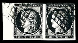 O N°3, 20c Noir Sur Jaune En Paire Horizontale, Bord De Feuille Latéral Gauche, Jolie Pièce (certificat)  Qualité: O - 1849-1850 Ceres