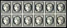 ** N°3a, 20c Noir Sur Blanc En Bloc De Douze, Des Exemplaires *, Très Fraîs. SUPERBE. R.R. (signé Calves/certificat)  Qu - 1849-1850 Ceres