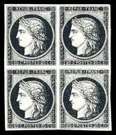 (*) N°3a, 20c Noir Sur Blanc, Bloc De Quatre. TB (certificat)  Qualité: (*) - 1849-1850 Ceres