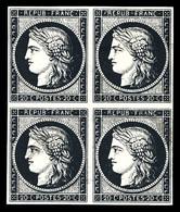 (*) N°3h, 20c Noir Intense Sur Teinté En Bloc De Quatre. SUP (signé Brun/certificats)  Qualité: (*) - 1849-1850 Ceres